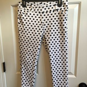 NY&Co white with black polka dots ankle pant